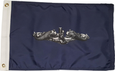 "Silver Dolphins Submariner Flag Enlisted (12"" x 18"") - Made in the USA!"