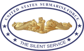 Submarine Force Silent Service with Gold Dolphins Oval Decal