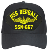 USS Bergall SSN-667 (Gold Dolphins) Submarine Officers Direct Embroidered Cap