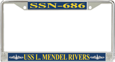 USS L. Mendel Rivers SSN-686 License Plate Frame