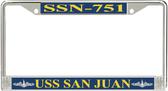 USS San Juan SSN-751 License Plate Frame
