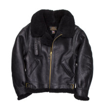 Cockpit USA B-3 Authentic Sheepskin Bomber Jacket Black