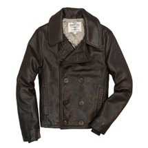 Cockpit USA Naval Short Leather Peacoat Dark Brown USA Made