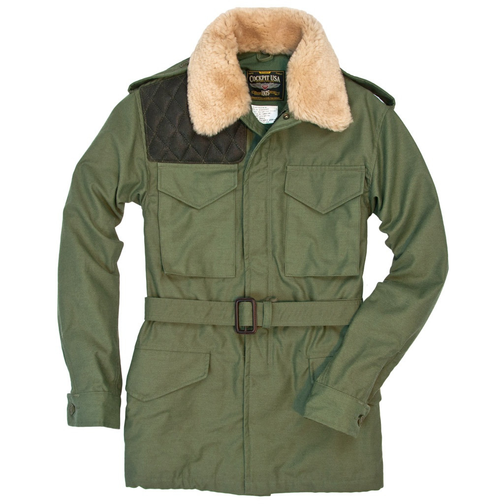 7c3ffc831b5 Cockpit USA Long Range Field Jacket Olive With Removable Mouton Fur Collar USA  Made be warm