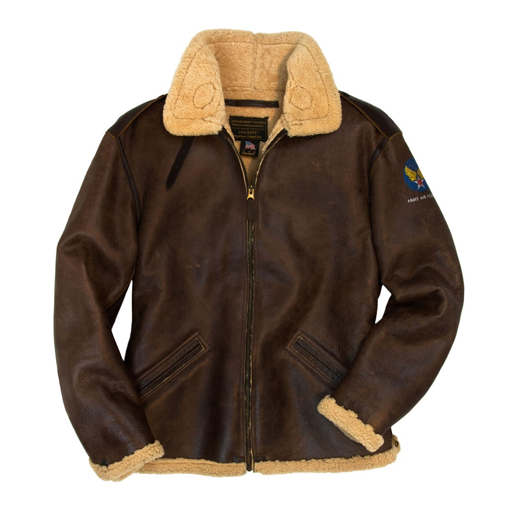 341d2d2ca Cockpit USA B-6 Shearling Bomber Jacket Brown USA Made