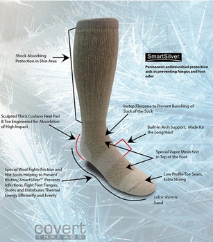 Covert Threads Ice Military Boot Sock USA Made Sand