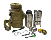 Pathfinder Stainless Steel Bottle Cooking Kit With Molle Carrier Coyote