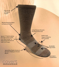 Covert Threads Desert Climate Military Boot Socks USA Made Coyote Brown