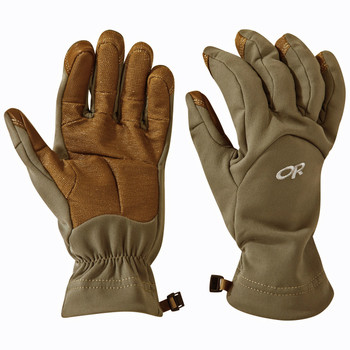 Outdoor Research MGS Soft Shell Gloves Super Fabric Coyote Brown USA Made (Please note the Super Fabric Palms actual color matches the Coyote Brown Soft Shell fabric)