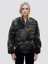 Alpha Industries Women's L-2B Sherpa Flight Jacket Woodland Camo