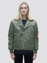 Alpha Industries Women's B-15 Straight Hem With Shearling Collar Sage Green