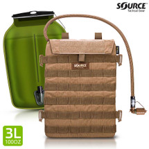 Source Hydration Razor 3 Liter, 100 oz Low Profile Hydration System Coyote Brown