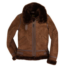 Cockpit USA Women's B-3 Suede Bomber Jacket Brown USA Made