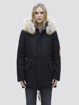 Alpha Industries Women's J-4 Impact Primaloft Fishtail Parka Black