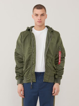 Alpha Industries L-2B Hooded Battlewash Flight Jacket Sage