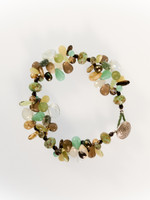 Green Brown Mix Cluster Bracelet