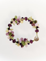 Purple Green Mix Cluster Bracelet
