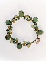 Green Czech Glass Cluster Bracelet