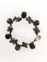 Black Czech Glass Cluster Bracelet