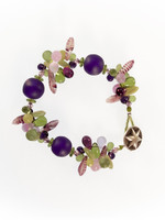 Purple & Green Mix Resin Cluster Bracelet