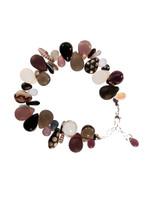 Black, White, Burgundy, & Gray Tears and Spears Bracelet