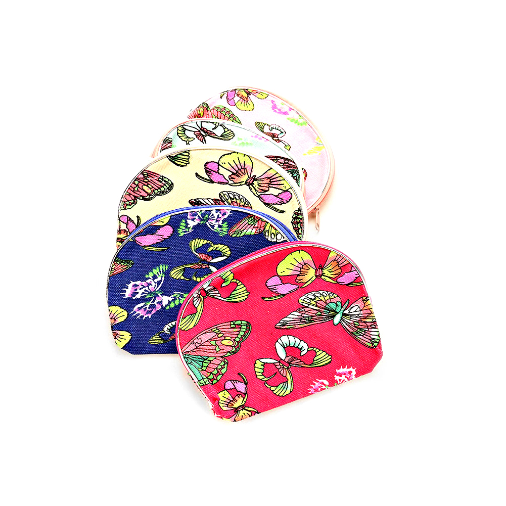 Multicolored Butterfly Zippered Cloth Bag