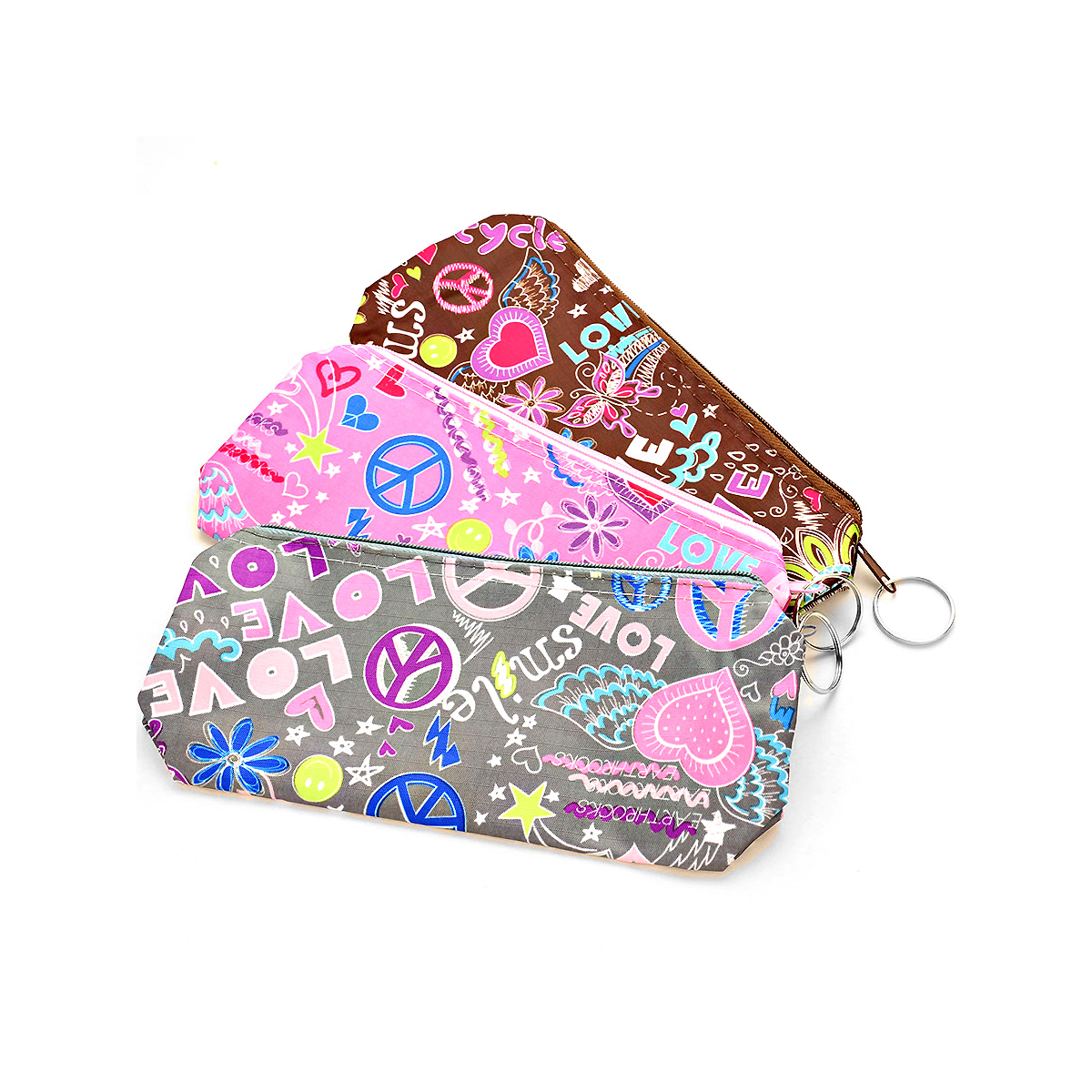 Peace & Love Zippered Cloth Bag