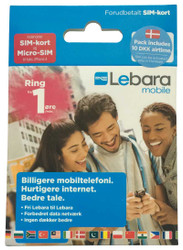 Lebara Denmark SIM card with 49 kroner call credit