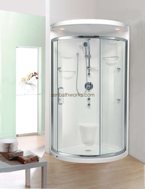 Stella shower shown with optional roof and lateral sliding glass door