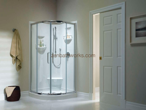 Sacha shower shown with optional central opening glass doors