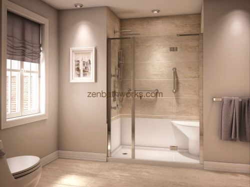 Koya shower with seat and left drain.