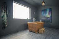 The All New Zen Bathworks Hybrid Ofuro in a Kyoto 54 x 30. Teak Exterior, Hinoki Interior, rim, and rail feet.