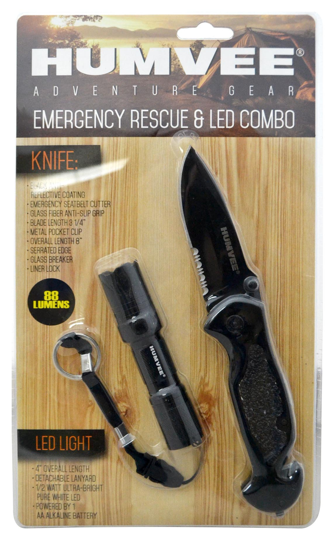 Humvee Emergency Rescue Knife and Light Combo Set