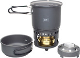 Esbit Lightweight Trekking Cookset with Brass Alcohol Burner Stove and 2 Aluminum Pots