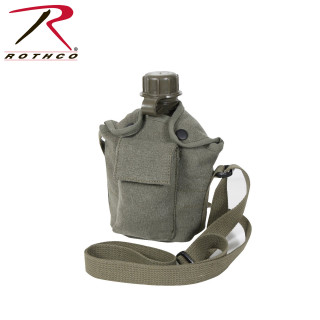 2767c1b77 Rothco Vintage Canvas Carry-All Canteen Cover With Shoulder Strap ...