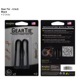 "Nite-Ize Gear Tie Black 6"" Pack of 2 pcs"