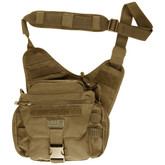 5.11 Tactical Push Pack made of 1050D nylon with multiple pockets and adjustable shoulder strap.