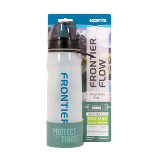 Aquamira Water Bottle with CR Filtration Technology is a BPA-free water bottle that removes over 99.9% of Cryptosporidium and Giardia