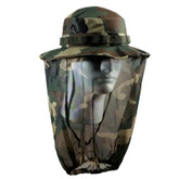 UF Camo Boonie Hat with Camo Mosquito Netting (R5833) is a tactical hat in camouflage pattern with mosquito netting to protect your face and neck from insects.  The mosquito netting allows for good vision and does not cause discomfort and annoying contact to the face and eyes.  It is made of cotton and polyester and includes a strap.