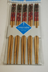 Floral Bamboo Chopsticks Set of 5