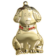 Goldtone Dapped Dog Ornament