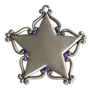 Pewter Star with Blue Stones and imprint