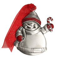 Pewter Snowman with Candy Cane and imprint