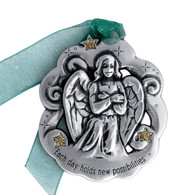 angel-ornament-pewter-each day hold new possibilities-christmas ornament