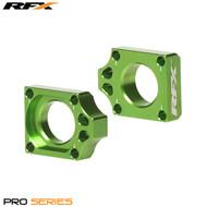 RFX Pro Rear Axle Adjuster Blocks (Green) Kawasaki KX125/250 03-08 KXF250/450 04>On KLX450 08-14