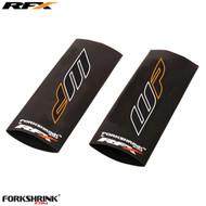 RFX Race Series Forkshrink Upper Fork Guard with 2016 WP logo (White/Orange) Universal 125cc-525cc
