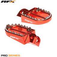RFX Pro Series Shark Teeth Footrests (Orange) KTM SX65 02-17 SX/EXC/SXF/EXCF 125-525 00-15