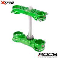 Xtrig ROCS Tech Triple Clamp Set (Green) Kawasaki KXF250/450 13-16 (OS 23mm) M12