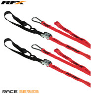RFX Race Series 1.0 Tie Downs (Red/Black) with extra loop & carabiner clip