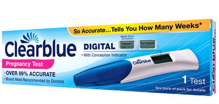 clear blue pregnancy test results pictures